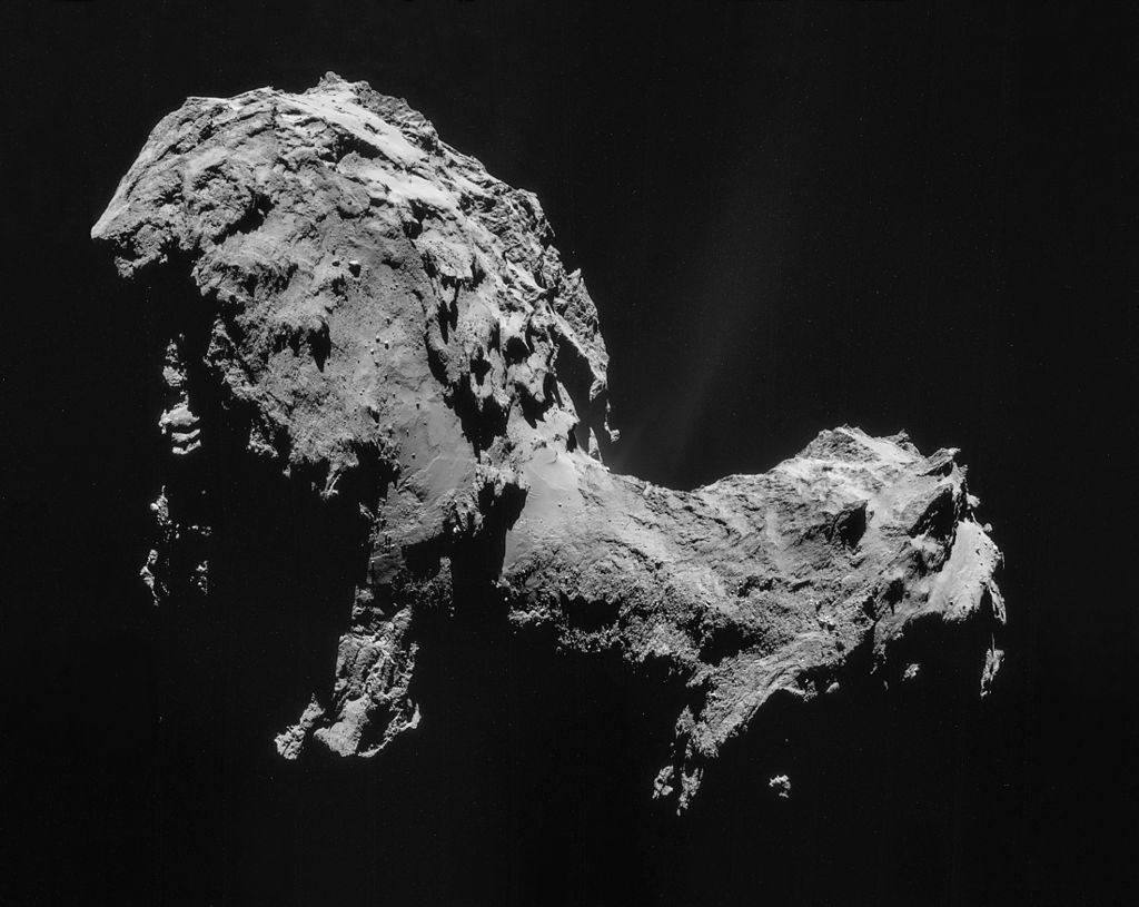 Mosaic of four images taken by Rosetta's navigation camera in 2014 of comet 67P/Churyumov–Gerasimenko.